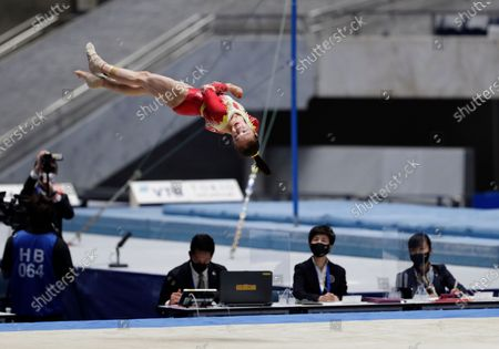 Zhang Jin of China competes in the floor exercise event in an international gymnastics meet in Tokyo on . Gymnasts from four countries of China, Russia, U.S. and Japan performed in the meet at Yoyogi National Stadium First Gymnasium, a venue planned to be used in the Tokyo 2020 Olympics in the summer 2021