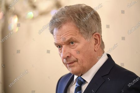 Finnish President Sauli Niinisto speaking during a press meeting about the result of the U.S. presidential elections, in Helsinki, Finland, on Sunday November 11, 2020. U.S. media declared yesterday Democrat Joe Biden as the winner of the presidential elections of the United States. Senator Kamala Harris will be the new Vice Pesident of the USA.