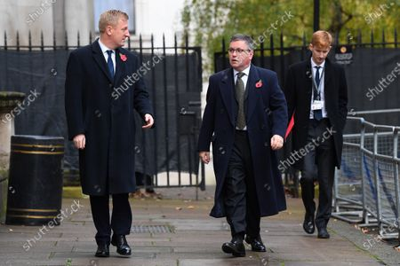 Oliver Dowden, Culture Secretary, and Robert Buckland, Secretary of State for Justice, in Downing Street on their way to The Cenotaph ahead of Remembrance Sunday Service.