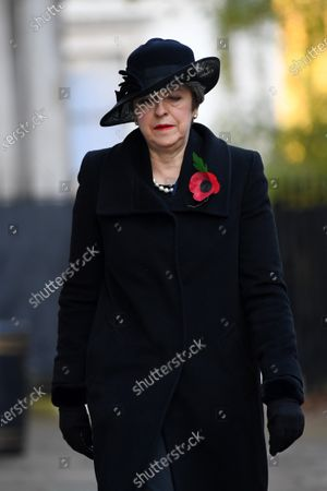 Theresa May MP in Downing Street on her way to The Cenotaph ahead of Remembrance Sunday Service.