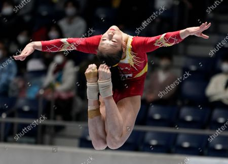 Stock Image of Zhang Jin of China in action in the women's balance beam competition during the Gymnastics Friendship and Solidarity Competition in Tokyo, Japan, 08 November 2020. Gymnasts from Japan, China, Russia and the United States participated in an international gymnastics competition with taking measures against COVID-19 coronavirus.