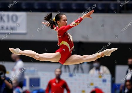 Zhang Jin of China in action in the women's balance beam competition during the Gymnastics Friendship and Solidarity Competition in Tokyo, Japan, 08 November 2020. Gymnasts from Japan, China, Russia and the United States participated in an international gymnastics competition with taking measures against COVID-19 coronavirus.