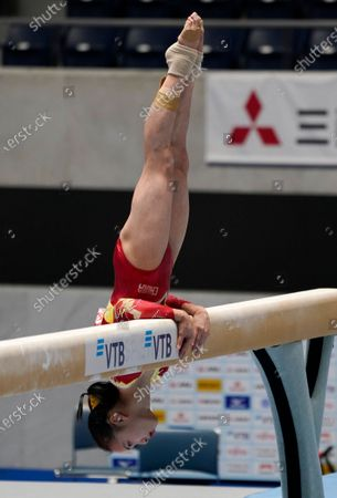 Stock Picture of Zhang Jin of China in action in the women's balance beam competition during the Gymnastics Friendship and Solidarity Competition in Tokyo, Japan, 08 November 2020. Gymnasts from Japan, China, Russia and the United States participated in an international gymnastics competition with taking measures against COVID-19 coronavirus.