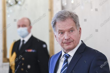 Finnish President Sauli Niinisto speaks about the diplomatic relationship between Finland and the United States during a press conference at the Presidential Palace in Helsinki, Finland, 08 November  2020. Major news organizations have called the US presidential election 2020 for democrat Joe Biden, defeating incumbent US President Donald J. Trump.