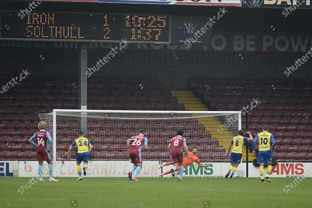 Editorial picture of Scunthorpe United v Solihull Moors, The FA Cup, 08scores a goal 1-12020 - 08 Nov 2020