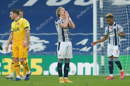 West Bromwich Albion's Conor Gallagher reacts after a missed scoring opportunity during the English Premier League soccer match between West Bromwich Albion and Tottenham Hotspur at the Hawthorns in West Bromwich, England