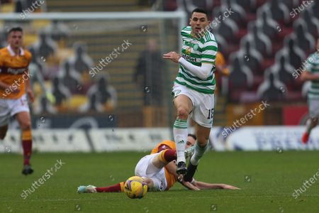 Tom Rogic (Celtic) skips past Stephen O'Donnell (Motherwell) during the Scottish Premiership match between Motherwell and Celtic at Fir Park, Motherwell