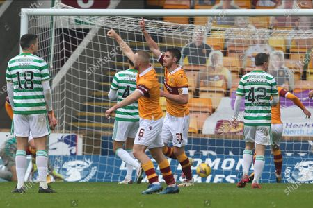 GOAL 1-2 Declan Gallagher (Motherwell) scores for Motherwell during the Scottish Premiership match between Motherwell and Celtic at Fir Park, Motherwell