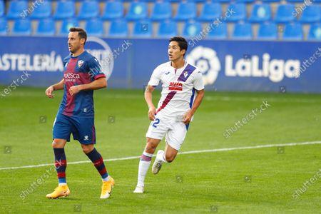 "(L-R) Pedro Lopez (Huesca), Yoshinori Muto (Eibar) - Football / Soccer : Spanish ""La Liga Santander"" match between SD Huesca 1-1 SD Eibar at the Estadio El Alcoraz in Huesca, Spain."