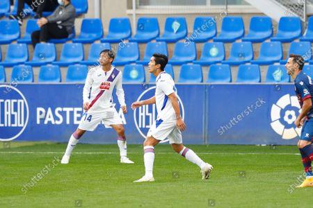 "(L-R) Takashi Inui, Yoshinori Muto (Eibar) - Football / Soccer : Spanish ""La Liga Santander"" match between SD Huesca 1-1 SD Eibar at the Estadio El Alcoraz in Huesca, Spain."