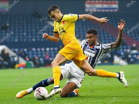 Stock Image of Kieran Gibbs (R) of West Bromwich in action against Matt Doherty (L) of Tottenham during the English Premier League soccer match between West Bromwich Albion and Tottenham Hotspur in West Bromwich, Britain, 08 November 2020.