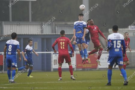 Stock Picture of Cavaghn Miley of Eastleigh, Dan Smith of Eastleigh and David Kasumu of Milton Keynes Dons all jump to head the ball during the The FA Cup match between Eastleigh and Milton Keynes Dons at Arena Stadium, Eastleigh