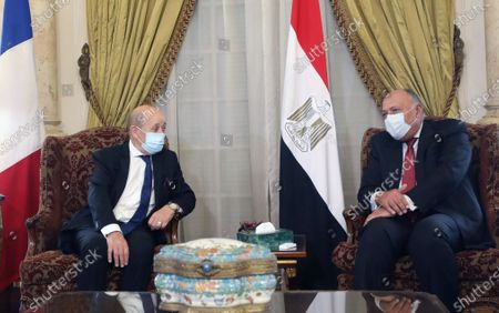 Stock Picture of Egyptian Foreign Minister Sameh Shoukry (R) meets with French Foreign Minister Jean-Yves Le Drian (L) at the Tahrir Palace in Cairo, Egypt, 08 November 2020. The French top diplomat is on an official visit to Egypt.