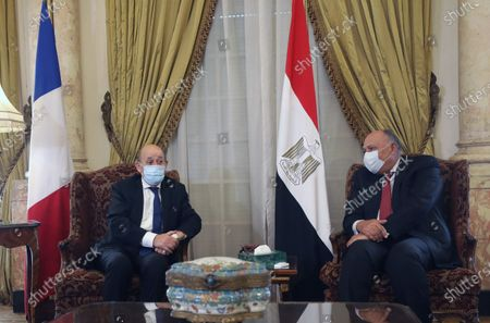 Egyptian Foreign Minister Sameh Shoukry (R) meets with French Foreign Minister Jean-Yves Le Drian (L) at the Tahrir Palace in Cairo, Egypt, 08 November 2020. The French top diplomat is on an official visit to Egypt.