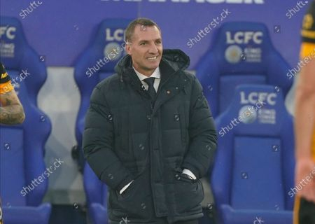 Leicester's head coach Brendan Rodgers smiles during the English Premier League soccer match between Leicester City and Wolverhampton Wanderers at King Power Stadium in Leicester, England