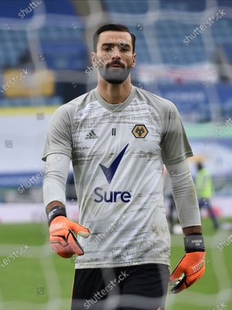 Wolverhampton Wanderers goalkeeper Rui Patricio warming up before the English Premier League soccer match between Leicester City and Wolverhampton Wanderers at the King Power Stadium in Leicester, England