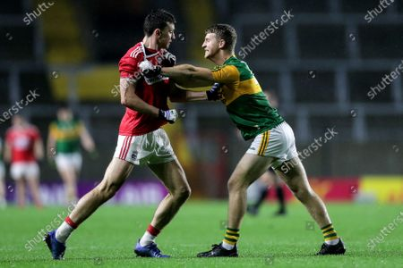 Stock Image of Kerry vs Cork. Tempers flare between Cork's Mark Collins and Gavin Crowley of Kerry