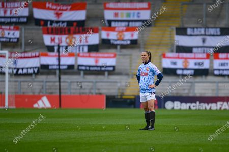 Manchester United Women forward Jane Ross (19) warming up during the FA Women's Super League match between Manchester United Women and Arsenal Women FC at Leigh Sports Village, Leigh