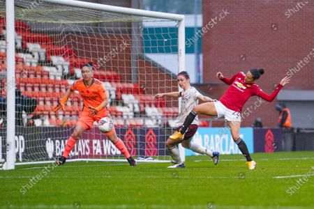 Manchester United Women forward Christen Press (24) and Arsenal Women defender Lotte Wubben-Moy (3) in action during the FA Women's Super League match between Manchester United Women and Arsenal Women FC at Leigh Sports Village, Leigh
