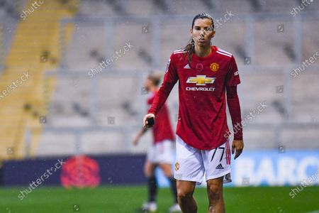 Manchester United Women forward Tobin Heath (77) gestures and reacts during the FA Women's Super League match between Manchester United Women and Arsenal Women FC at Leigh Sports Village, Leigh