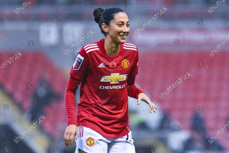 Manchester United Women forward Christen Press (24) gestures and reacts during the FA Women's Super League match between Manchester United Women and Arsenal Women FC at Leigh Sports Village, Leigh