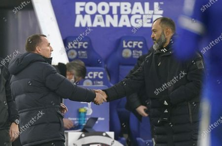 Stock Image of Leicester's manager Brendan Rodgers (L) shakes hands with Wolverhampton's Nuno Espirito Santo (R) after the English Premier League soccer match between Leicester City and Wolverhampton Wanderers in Leicester, Britain, 08 November 2020.