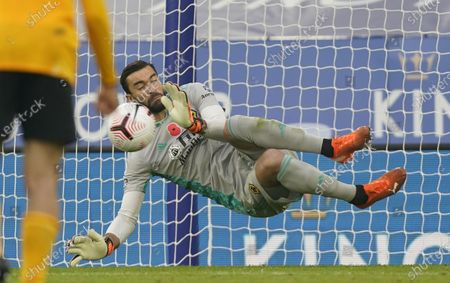 Wolverhampton's goalkeeper Rui Patricio saves a penalty during the English Premier League soccer match between Leicester City and Wolverhampton Wanderers in Leicester, Britain, 08 November 2020.