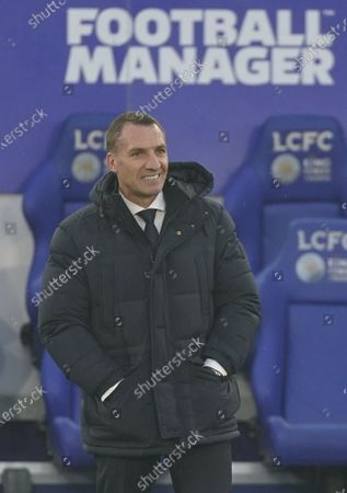 Stock Photo of Leicester's manager Brendan Rodgers (L) reacts during the English Premier League soccer match between Leicester City and Wolverhampton Wanderers in Leicester, Britain, 08 November 2020.