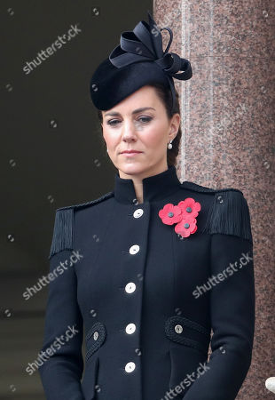 Catherine Duchess of Cambridge during the National Service of Remembrance at The Cenotaph on November 08, 2020 in London, England.