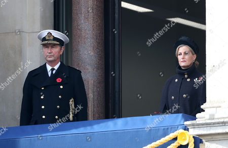 Stock Image of Navy Officer Tim Laurence and Sophie Countess of Wessex during the National Service of Remembrance at The Cenotaph on November 08, 2020 in London, England.