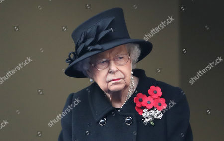 Queen Elizabeth II during the National Service of Remembrance at The Cenotaph on November 08, 2020 in London, England.