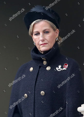 Stock Photo of Sophie Countess of Wessex during the National Service of Remembrance at The Cenotaph on November 08, 2020 in London, England.
