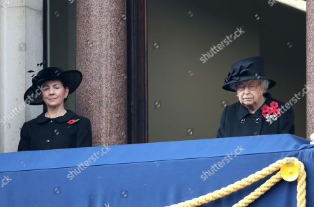 Queen Elizabeth II (R) during the National Service of Remembrance at The Cenotaph on November 08, 2020 in London, England.