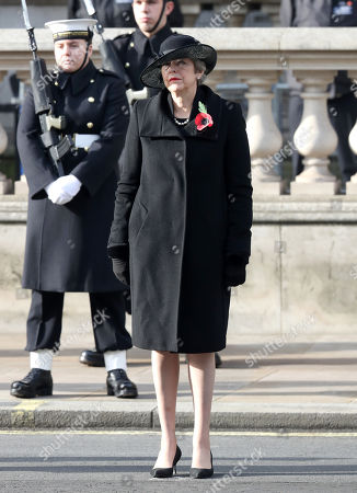 Former British Prime Minister Theresa May during the National Service of Remembrance at The Cenotaph on November 08, 2020 in London, England.