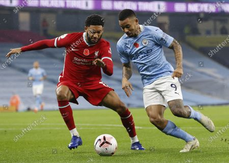 Manchester City's Gabriel Jesus (R) in action against Liverpool's Joe Gomez (L) during the English Premier League soccer match between Manchester City and Liverpool FC in Manchester, Britain, 08 November 2020.