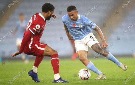 Gabriel Jesus (R) of Manchester City in action against Joe Gomez (L) of Liverpool during the English Premier League soccer match between Manchester City and Liverpool FC in Manchester, Britain, 08 November 2020.