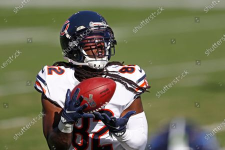 Chicago Bears wide receiver Dwayne Harris makes a catch against the Tennessee Titans in the first half of an NFL football game, in Nashville, Tenn