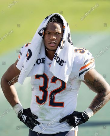 Stock Photo of Chicago Bears running back David Montgomery (32) walks to the locker room during halftime of an NFL football game against the Tennessee Titans, in Nashville, Tenn