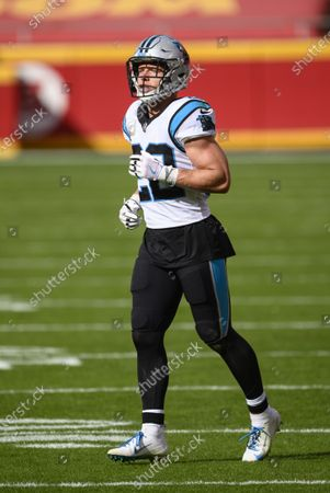 Carolina Panthers running back Christian McCaffrey (22) during the first half of an NFL football game against the Kansas City Chiefs, in Kansas City, Mo