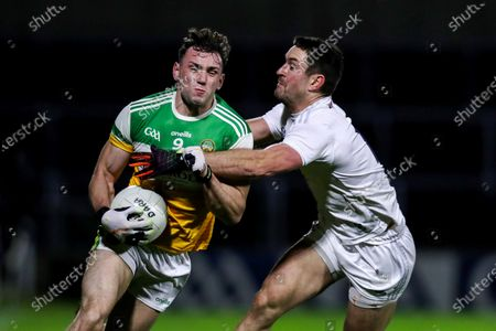 Offaly vs Kildare. Offaly's Jordan Hayes is tackled by Ben McCormack of Kildare