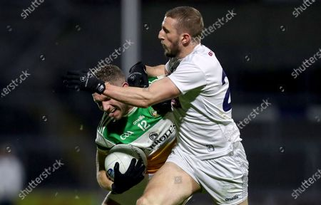 Offaly vs Kildare. Offaly's Anton Sullivan is tackled by Neil Flynn of Kildare