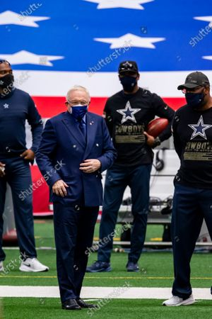 Dallas Cowboys owner Jerry Jones, second form left, looks on from the sidelines before the first half of an NFL football game against the Pittsburgh Steelers, in Arlington, Texas. Pittsburgh won 24-19