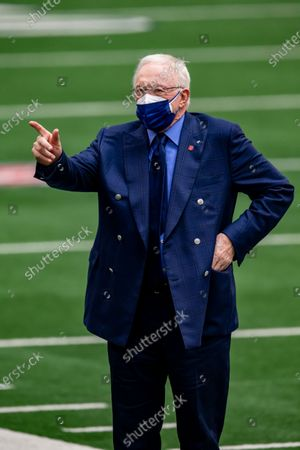 Dallas Cowboys owner Jerry Jones waves to fans before an NFL football game against the Pittsburgh Steelers, in Arlington, Texas. Pittsburgh won 24-19