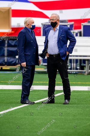 Dallas Cowboys owner Jerry Jones, left, and COO Stephen Jones look on before an NFL football game against the Pittsburgh Steelers, in Arlington, Texas. Pittsburgh won 24-19