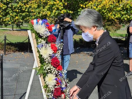South Korean Foreign Minister Kang Kyung-wha lays a wreath at the Korean War Veterans Memorial in Washington, DC, USA, 08 November 2020, to pay tribute to American soldiers killed in action during the 1950-53 Korean War. Kang arrived in Washington the same day to hold talks with Secretary of State Mike Pompeo about pending bilateral and regional issues and follow up on Democratic presidential nominee Joe Biden's victory in the US presidential election.