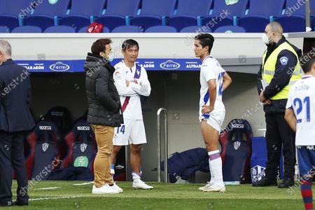 "Shinji Okazaki (Huesca), Takashi Inui, Yoshinori Muto (Eibar) - Football / Soccer : Spanish ""La Liga Santander"" match between SD Huesca 1-1 SD Eibar at the Estadio El Alcoraz in Huesca, Spain."