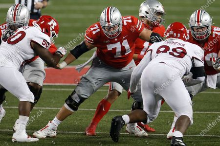 Ohio State offensive lineman Josh Myers plays against Rutgers during an NCAA college football game, in Columbus, Ohio