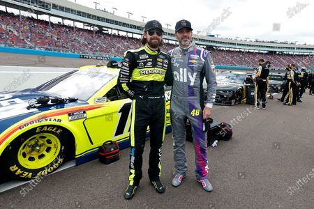 With fellow driver Ryan Blaney prior to a NASCAR Cup Series auto race at Phoenix Raceway, in Avondale, Ariz