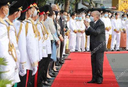 Cambodian King Norodom Sihamoni (R) greets diplomats during a ceremony at the Independence Monument in Phnom Penh, Cambodia, 09 November 2020. Cambodia marked its 67th anniversary of independence from France on 09 November 2020.