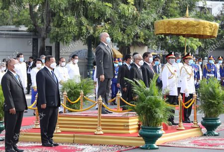 Cambodian King Norodom Sihamoni (C) listens to the National anthem during a ceremony at the Independence Monument in Phnom Penh, Cambodia, 09 November 2020. Cambodia marked its 67th anniversary of independence from France on 09 November 2020.